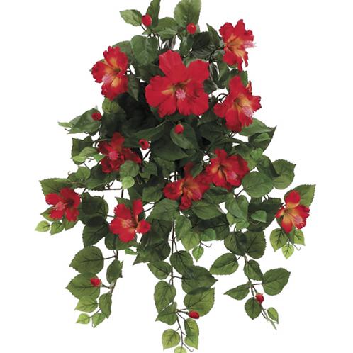 """Silk Hibiscus Hanging Flower Bush -26"""" Long"""