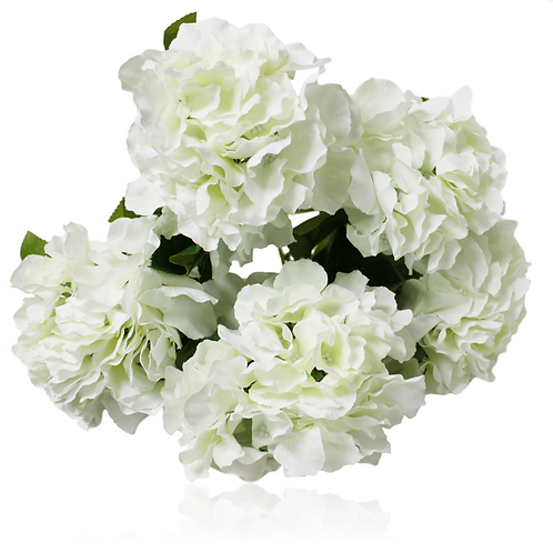 "18"" Silk Cream Hydrangea Bush With 5 Flowers"