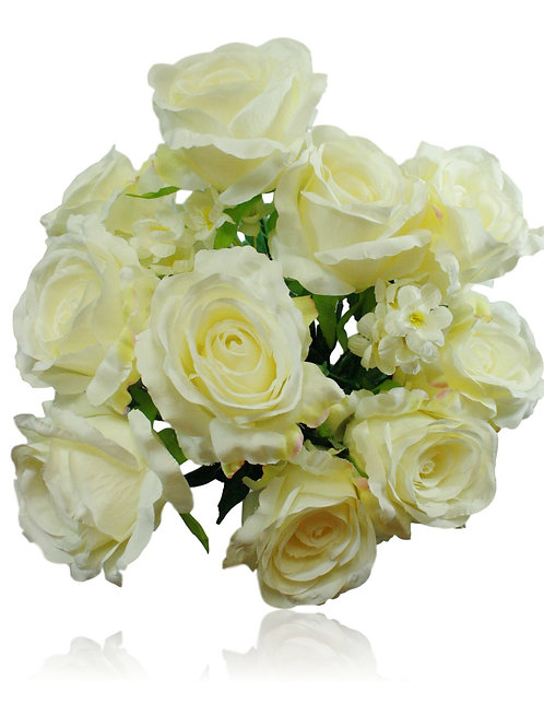 "20"" Silk Cream Rose Bush x 10"