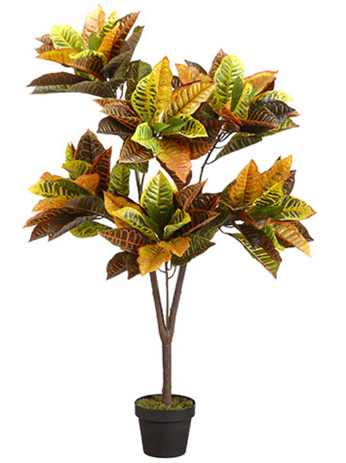 "Artificial Eva Croton Plant in pot - 48"" Tall"