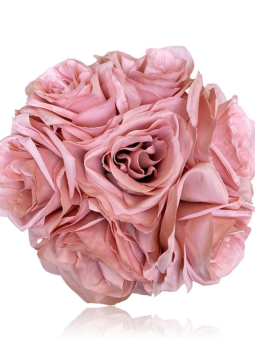"12"" Silk Ashley Rose Bouquet x 7"