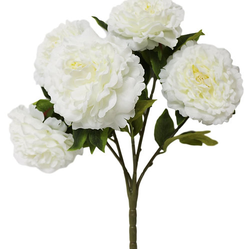 "Silk Cream Peony Bush with 5 Flowers - 21"" Long"
