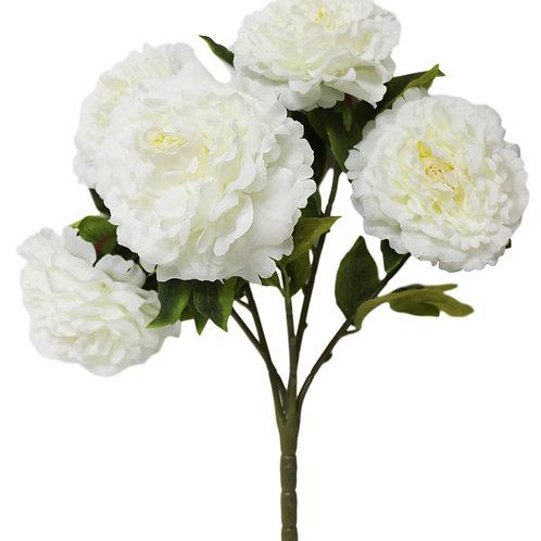 "Silk Cream Peony Bush with 5 Flowers - 21"" Long"