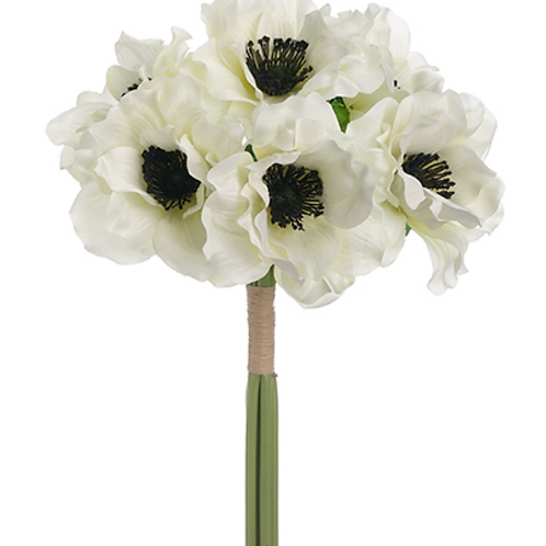 "White Silk Anemone Bundle x 6 - 12"" Long"