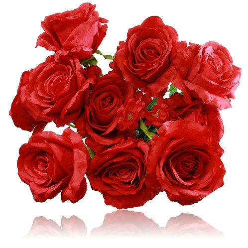 "20"" Red Silk Rose Bush x 10"