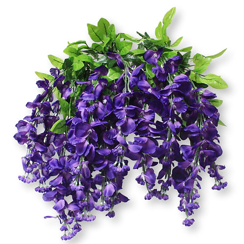 "Silk Wisteria Flower Hanging Bush- 36"" Long"