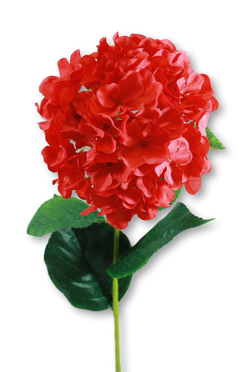 "Silk Red Hydrangea Spray - 33"" Long"