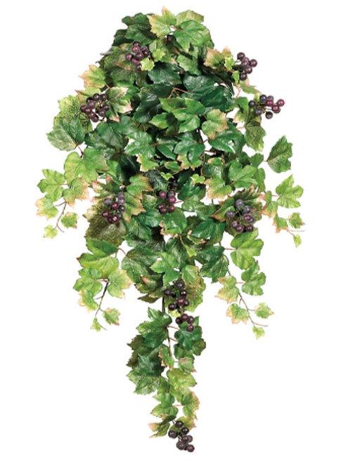 """Faux Grape Leaf Hanging Bush -30"""" Long"""