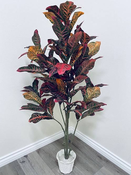 5' Silk Croton Tree with 104 Leaves in a White Paper Pot