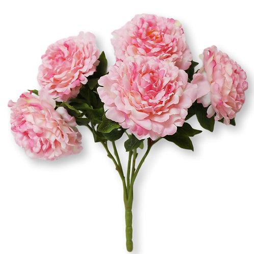 "Silk Pink Peony Bush with 5 Flowers - 21"" Long"