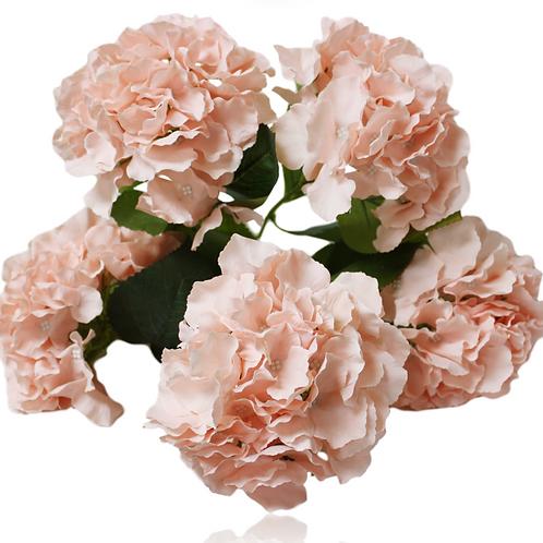 """18"""" Silk Blush Hydrangea Bush With 5 Flowers"""
