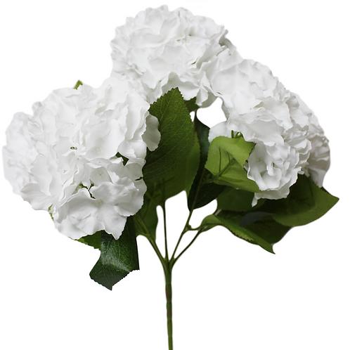 "18"" Silk White Hydrangea Bush with 5 Flowers"