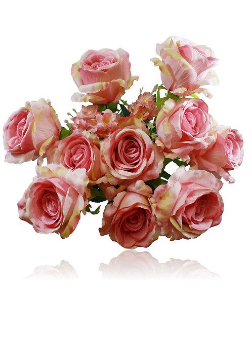 """20"""" Mauve Silk Rose Bush x 10"""