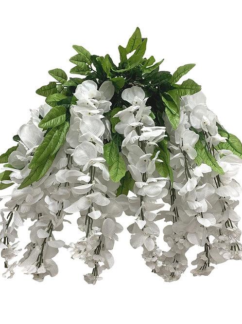 "35"" Wisteria Flower Hanging Bush X 13 (INT-587-13-WHITE)"