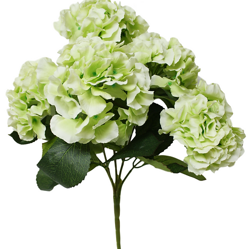"18"" Silk Green Hydrangea Bush With 5 Flowers"