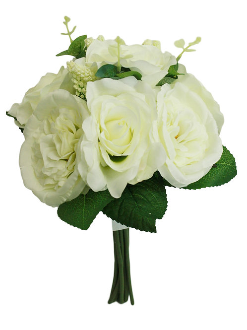"14"" Silk Rose, Cabbage Rose Bouquet"