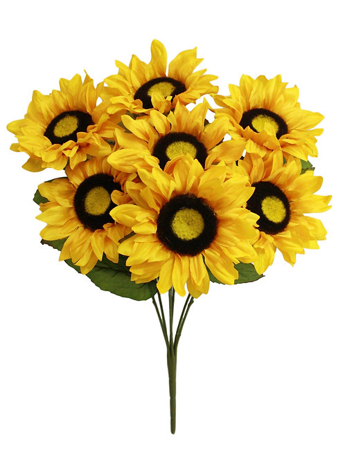 "17"" Silk Sunflower Bush x 7"