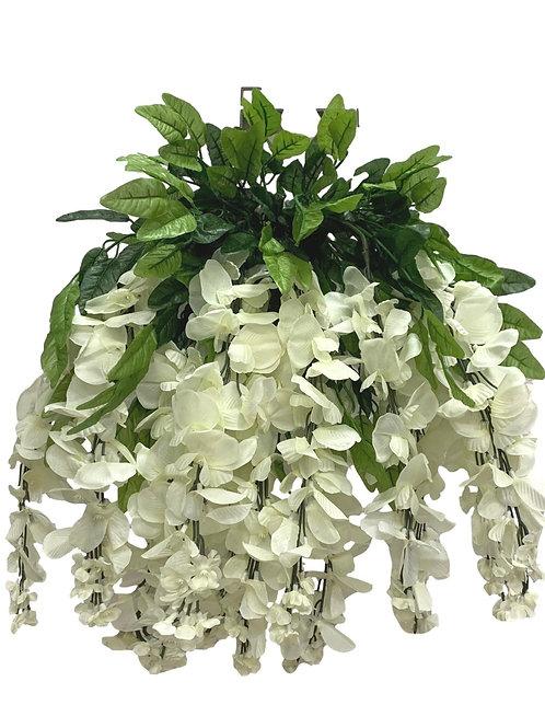 "35"" Wisteria Flower Hanging Bush X 13 (INT-587-13-CREAM)"