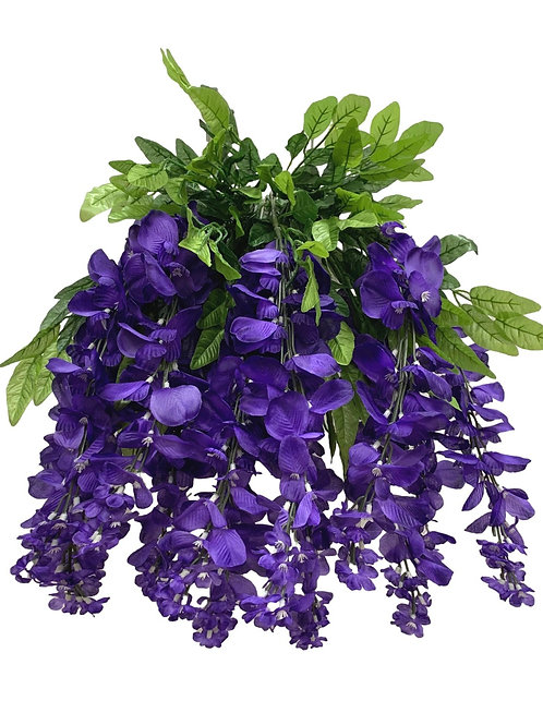"35"" Wisteria Flower Hanging Bush X 13 (INT-587-13-PURPLE)"