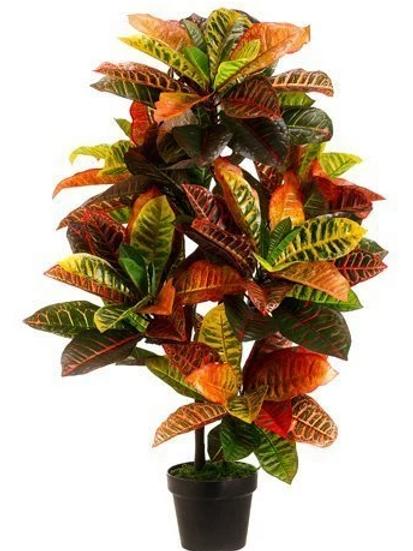 "Artificial Eva Croton Plant in pot - 36"" Tall"