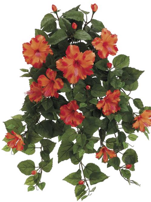 """Silk Hibiscus Flower Hanging Bush -26"""" Long"""