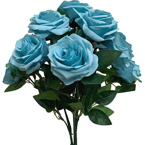 """18"""" Open Rose Bush x10 (FB662-LIGHT BLUE)"""