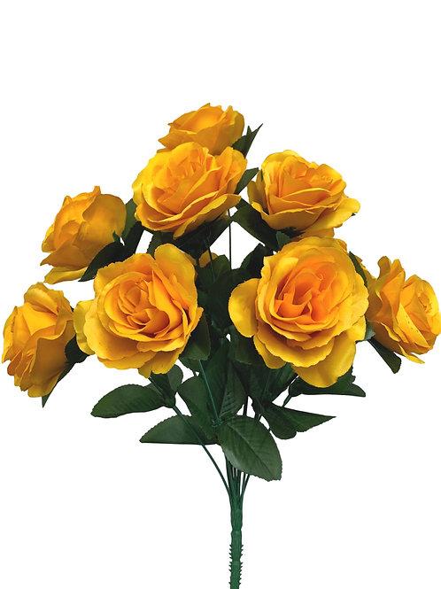 "17"" Satin Rose Bush x 12 (INT398-GoldenYellow)"