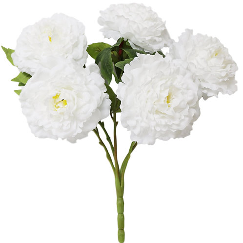 "Silk White Peony Bush With 5 Flowers- 21"" Long"