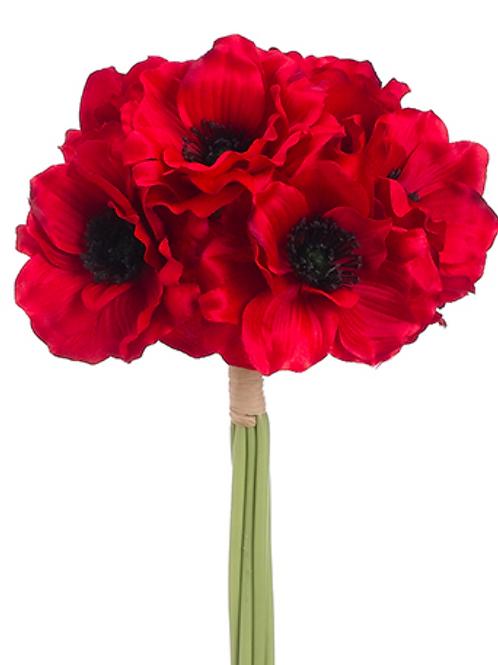 "Silk Red Anemone Bundle x 6 -12"""