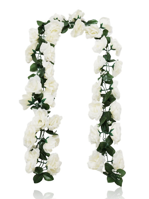 8' Silk Rose Garland with 34 Flowers