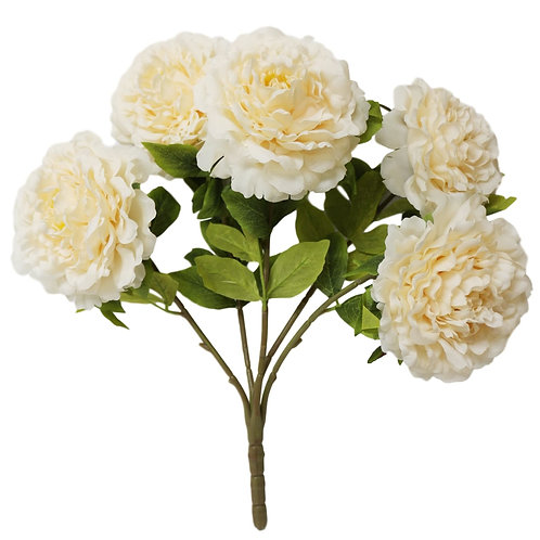 "Silk Beige Peony Bush with 5 Flowers - 21"" Long"