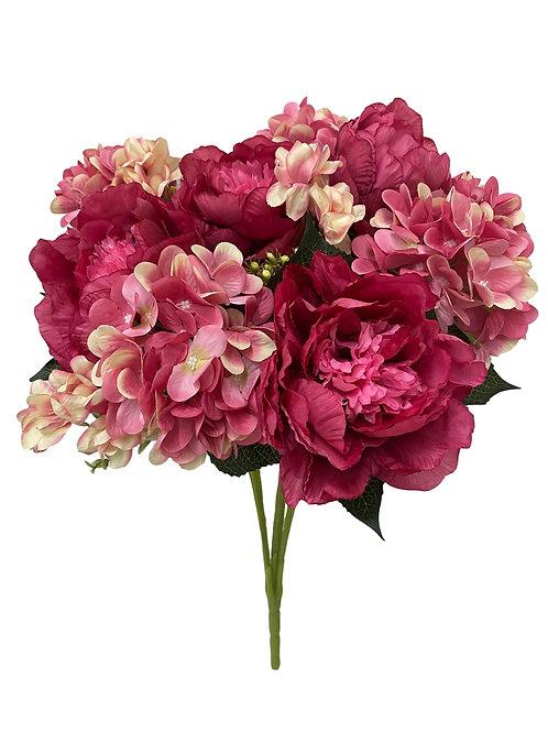 """23"""" Silk Peony, Hydrangea Mixed Bush"""