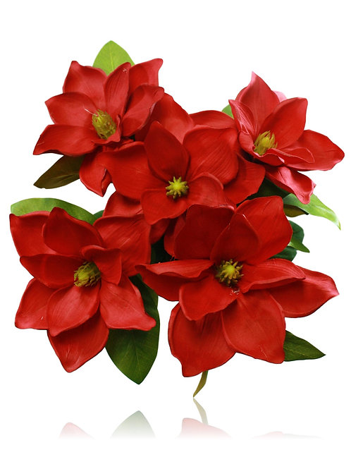 "Artificial Red Magnolia Flower Bush x 5 -23"" Long"