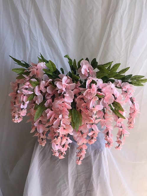 "35"" Wisteria Flower Hanging Bush X 13 (INT-587-13-BLUSH)"
