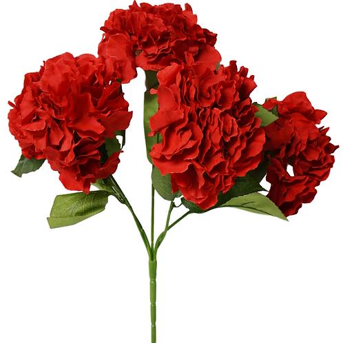 "18"" Silk Red Hydrangea Bush With 5 Flowers"