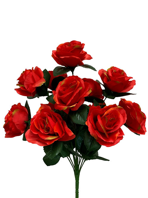 "17"" Satin Rose Bush x 12 (30388&INT398-Flame)"