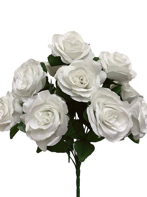 "17"" Satin Rose Bush x 12 (INT398-White)"