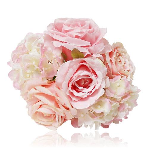 "Silk Rose Hydrangea Bouquet - 11"" Long"