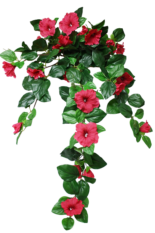 "Silk Petunia Flower Hanging Bush - 32"" Long"