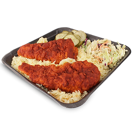 Combo #4 Two hot chicken tenders over a buttery rice topped with slaw, pickles and our secret sauce