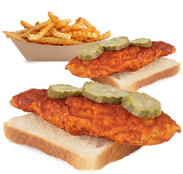 Conbo #2 Two hot chicken tenders over white bread withpicklesand fries