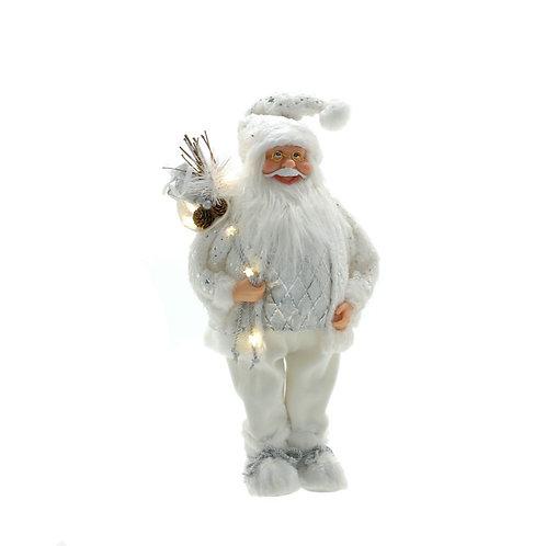 FESTIVE White Standing Santa With Light Up Stars