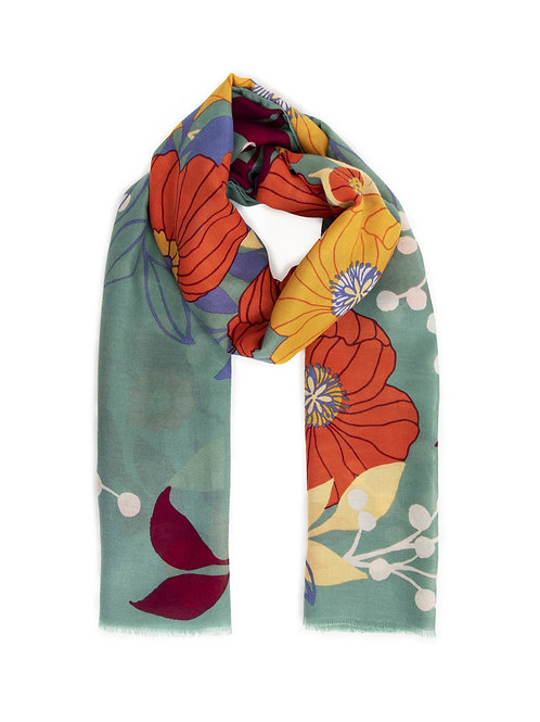 POWDER Autumn Floral Moss Scarf