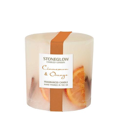 STONEGLOW Cinnamon & Orange Pillar Candle