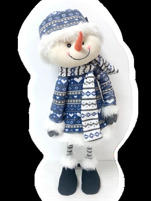BLUE CHRISTMAS Standing Spring-legs Snowman
