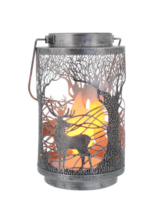 FESTIVE Silver Metal Reindeer Lantern