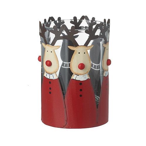HEAVEN SENDS Red Deer Glass Tea-Light Holder