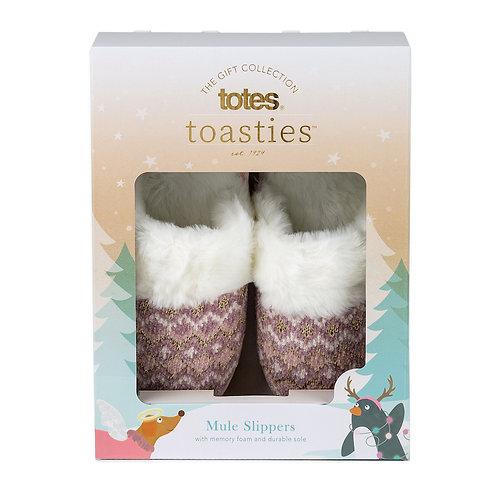 TOTES Fair Isle Knitted Mule Slipper