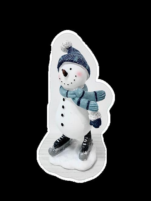 BLUE CHRISTMAS Medium Skating Snowman