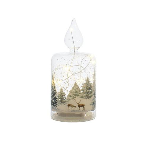 FESTIVE Light up Reindeer Glass Candle
